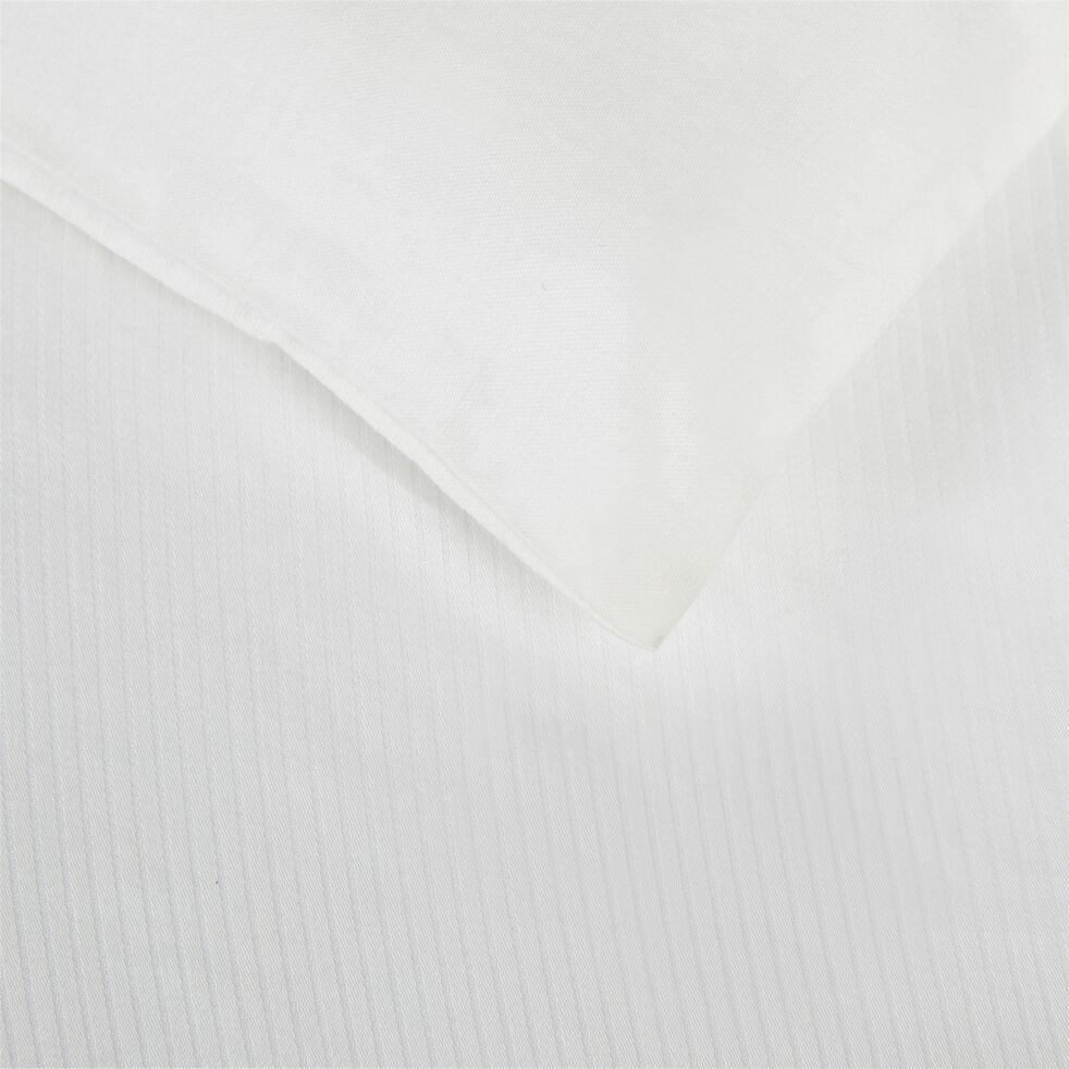 Housse de couette rayée en satin - blanc capelan 240x220cm-SANTIS