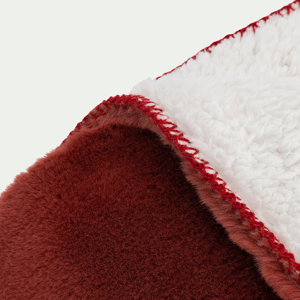 Plaid imitation fourrure - rouge ricin 130x170cm-MARIUS