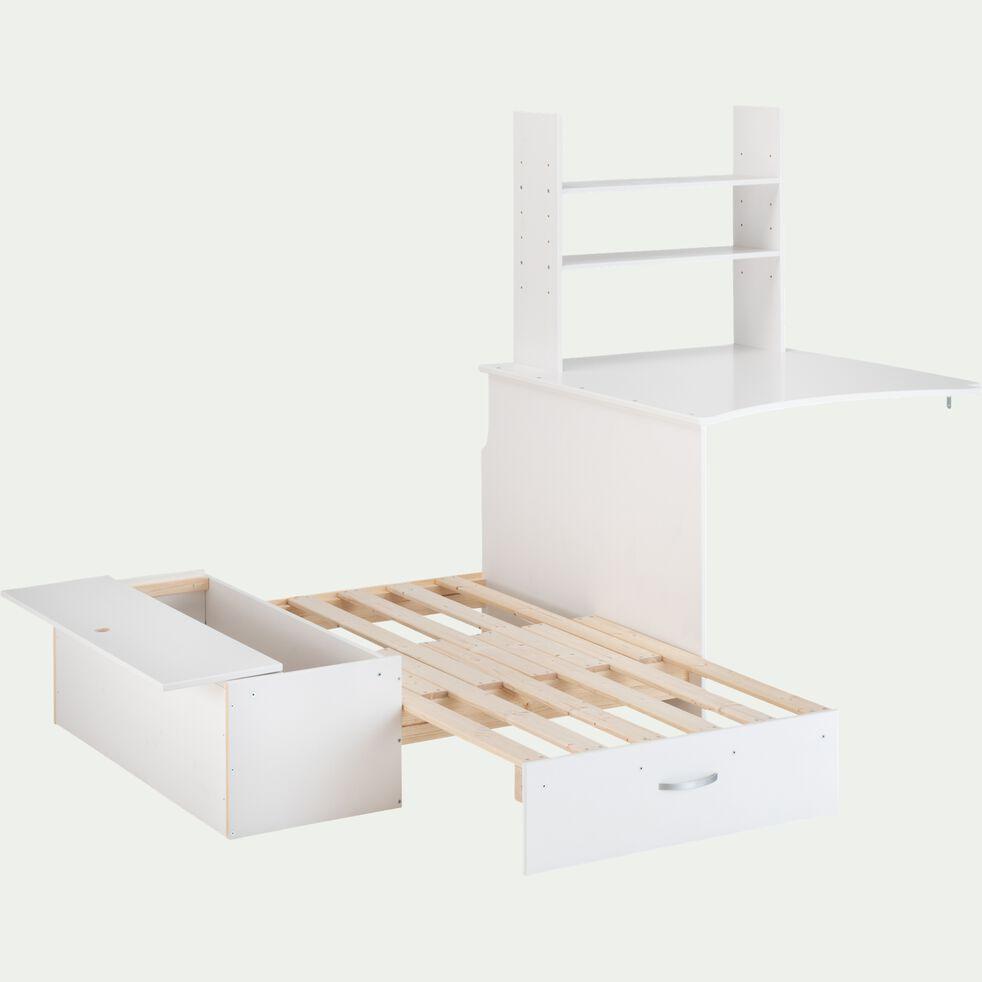 Combiné banquette et bureau en pin - blanc-DANIS
