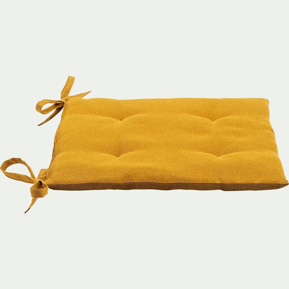 Galette de chaise de jardin en coton bicolore déperlant - jaune-MIKO