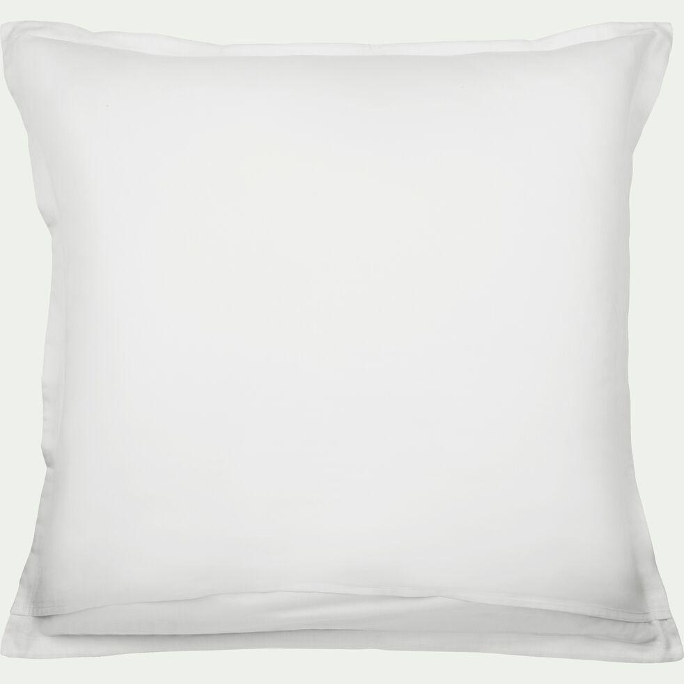 Lot de 2 taies d'oreiller en satin Blanc capelan rayé - 65x65 cm-SANTIS