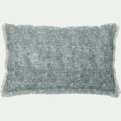 Coussin à fines rayures en lin et coton - bleu 30x50cm-GRANS