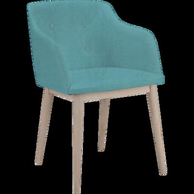 Chaise capitonnée bleu turquoise avec accoudoirs-CORK