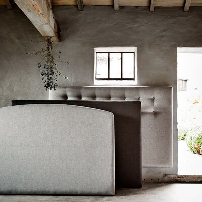 Tête de lit boutonnée Edonia gris clair 110x190cm-TIBOULEN