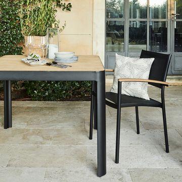 Ensemble table et chaise de jardin en aluminium - teck et plastique - noir