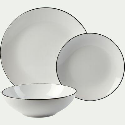 Service de vaisselle en grès - blanc