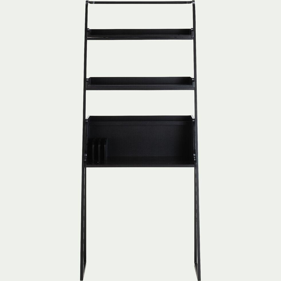 Bureau bois et métal noir avec 2 tablettes L80cm-ESTANIER