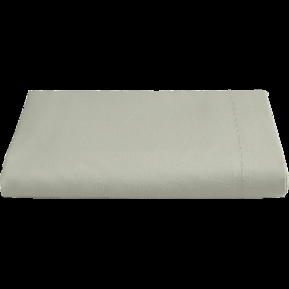 drap plat en percale de coton 270x300 cm vert olivier flore 270x300 cm la s lection blanc. Black Bedroom Furniture Sets. Home Design Ideas
