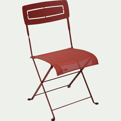 Chaise pliante de jardin en métal - rouge-SLIM