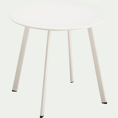 Table basse ronde en acier - blanc-ELIO