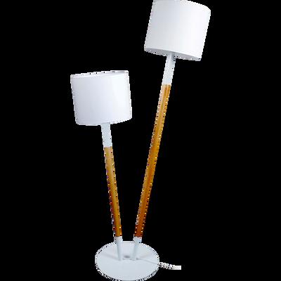 Lampadaire en bois et coton blanc H160cm-Tandem