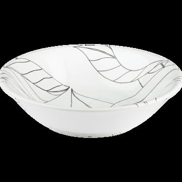 Assiette creuse en grès blanc capelan décoré D19cm-LAURIER