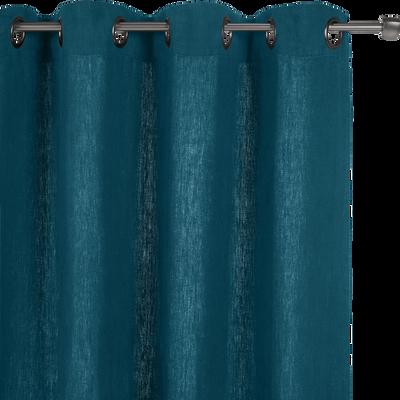 Rideau à oeillets en lin lavé bleu figuerolles 140x280cm-VENCE