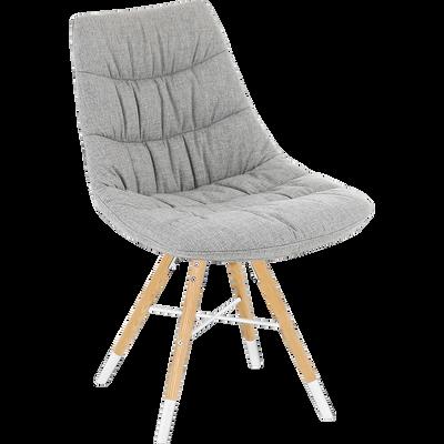 Chaise en tissu gris avec piétement bois et blanc-JOY