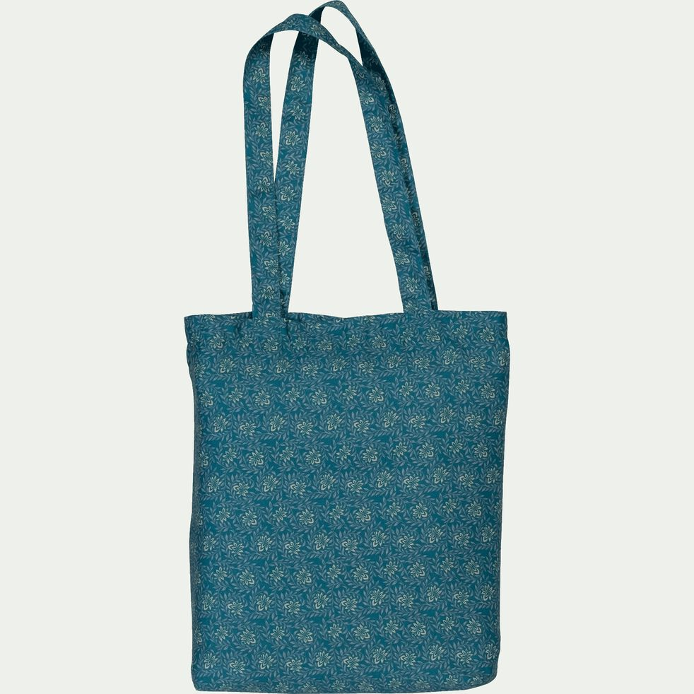 Housse de couette en satin motif Jasmin - bleu 260x240cm-SOUN