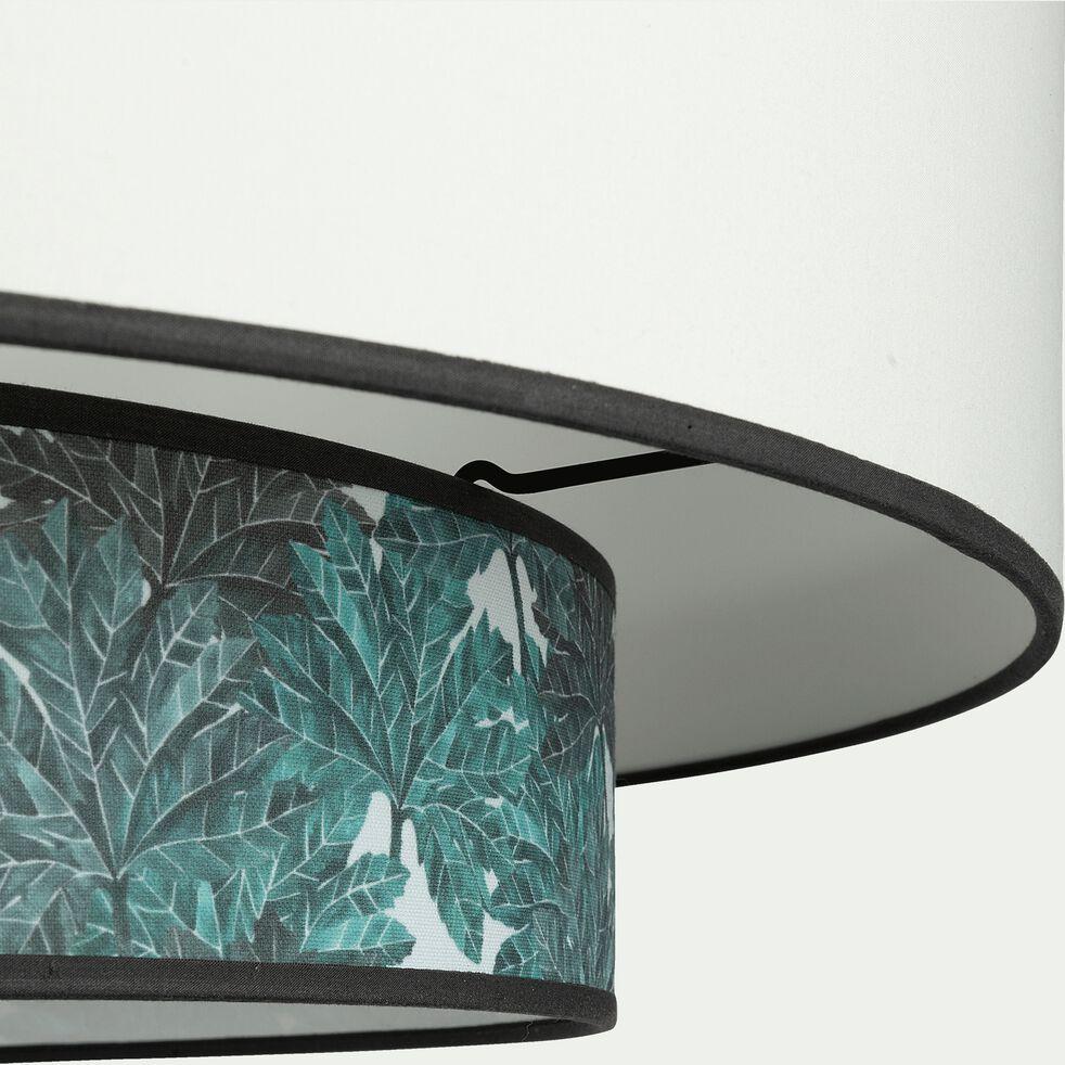 Abat-jour en tissu blanc et motif végétal D60xH25cm-CORINTHE