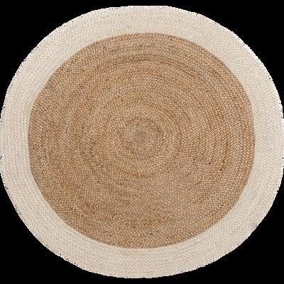 Tapis en jute rond blanc ventoux 120cm-ANTALYA