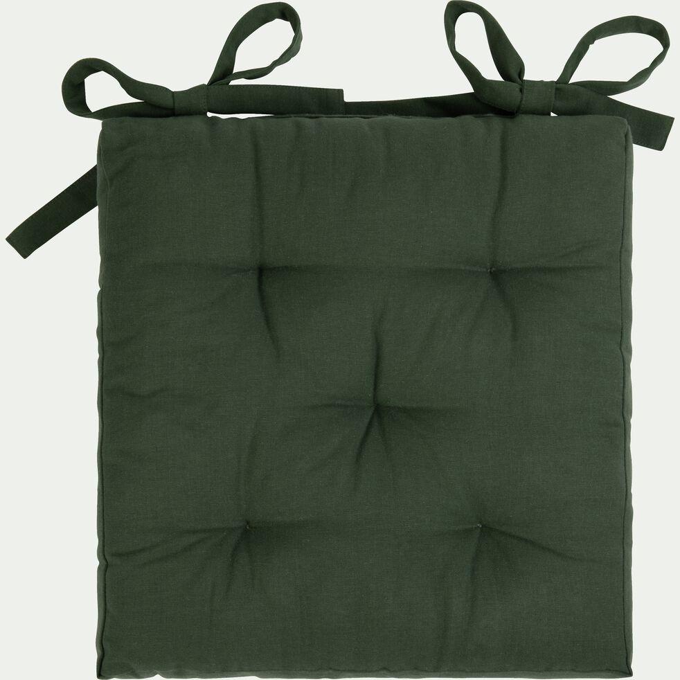 Galette de chaise carrée en coton - vert cèdre 40x40cm-CALANQUES