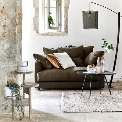 Canapé 2 places fixe en tissu - vert cèdre-LENITA