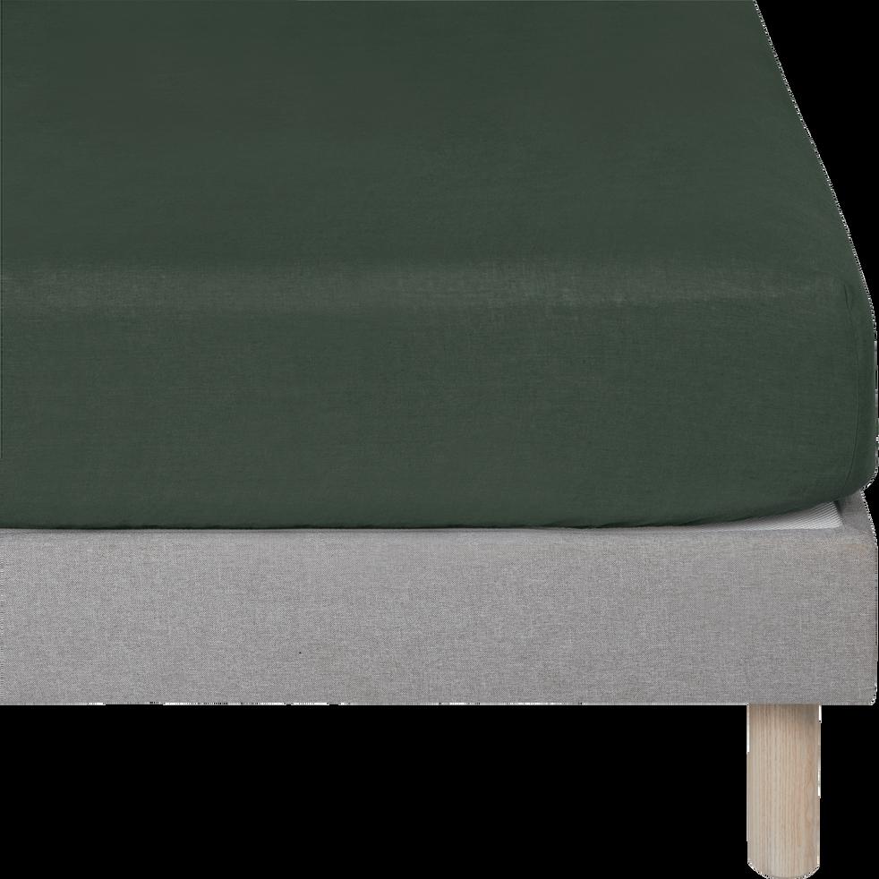 Drap housse en lin Vert cèdre 160x200cm bonnet 28cm-VENCE