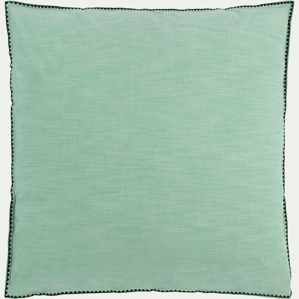 Housse de couette et 2 taies d'oreiller en coton lavé - vert menthe 260x240cm-RIMINI