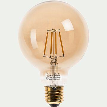 Ampoule LED déco à filament sphère lumière chaude 6W - ambre D9,5cm-AMPOULE