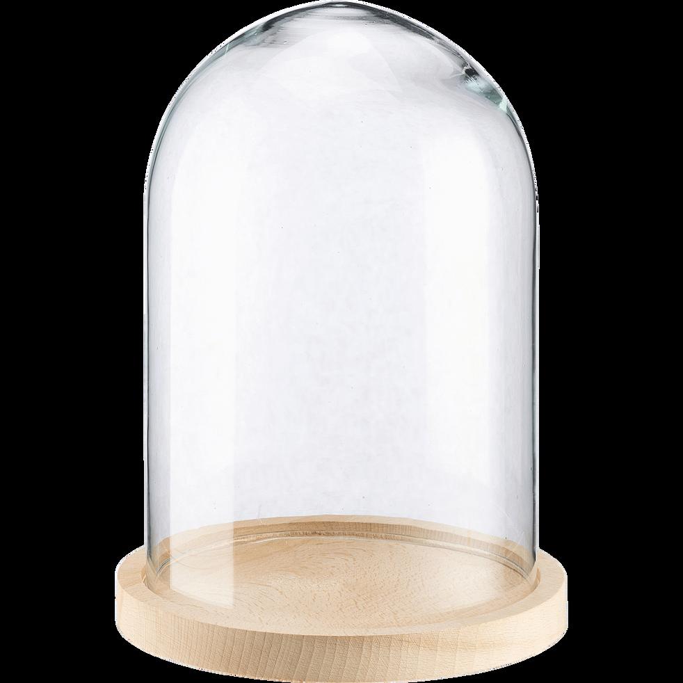 Que Mettre Sous Une Cloche En Verre lagune - cloche en verre avec soucoupe en hêtre d23,5xh38cm
