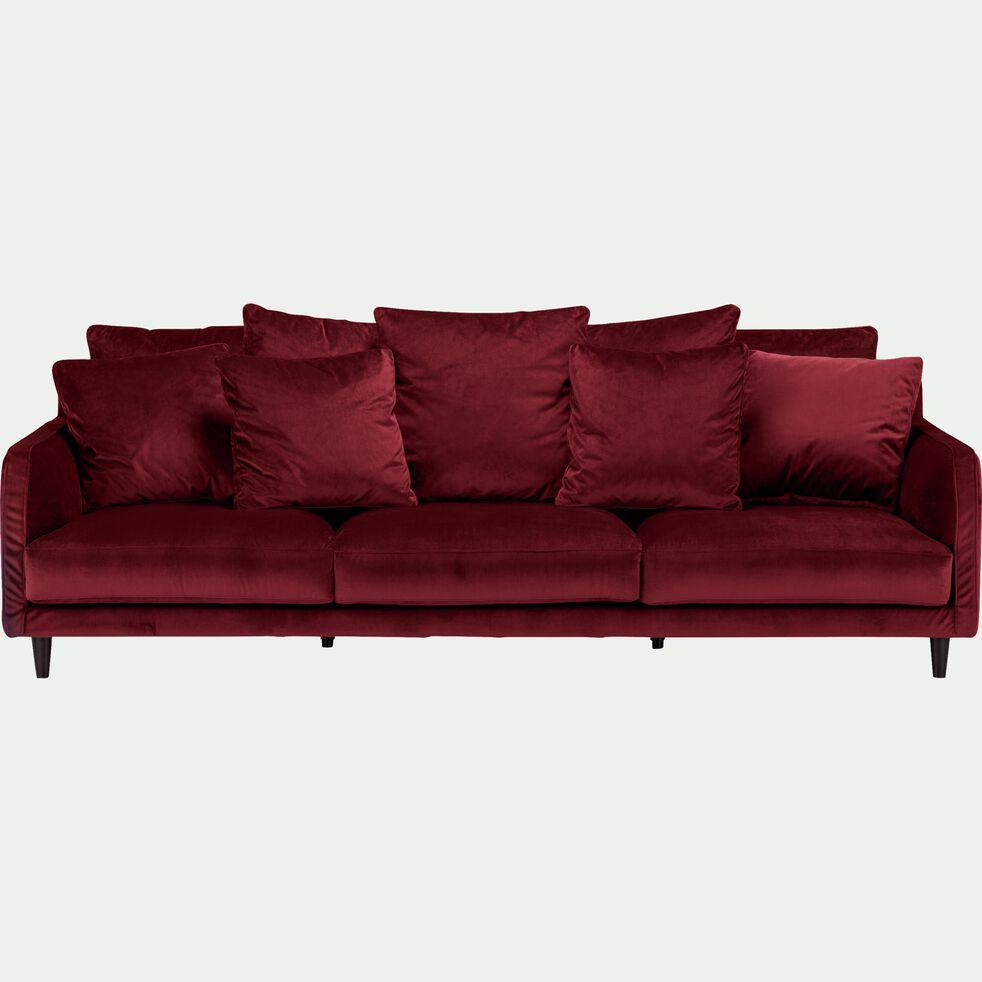 Canapé 6 places fixe en velours - rouge sumac-LENITA