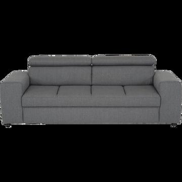 Canapé 3 places fixe en tissu gris anthracite-TONIN