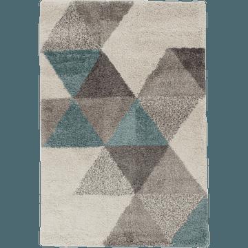 Tapis à poils longs motifs géométriques bleu 200x290cm-OSLO