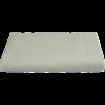 Drap plat en percale de coton  270x300 cm vert olivier-FLORE