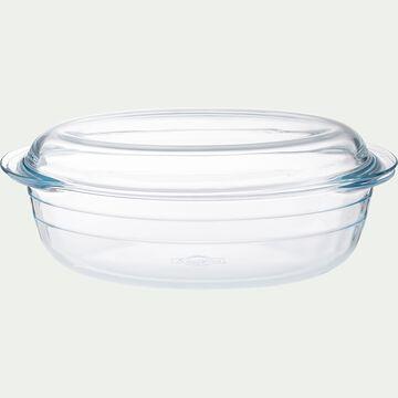 Cocotte ovale en verre borosilicate 3L-AZET