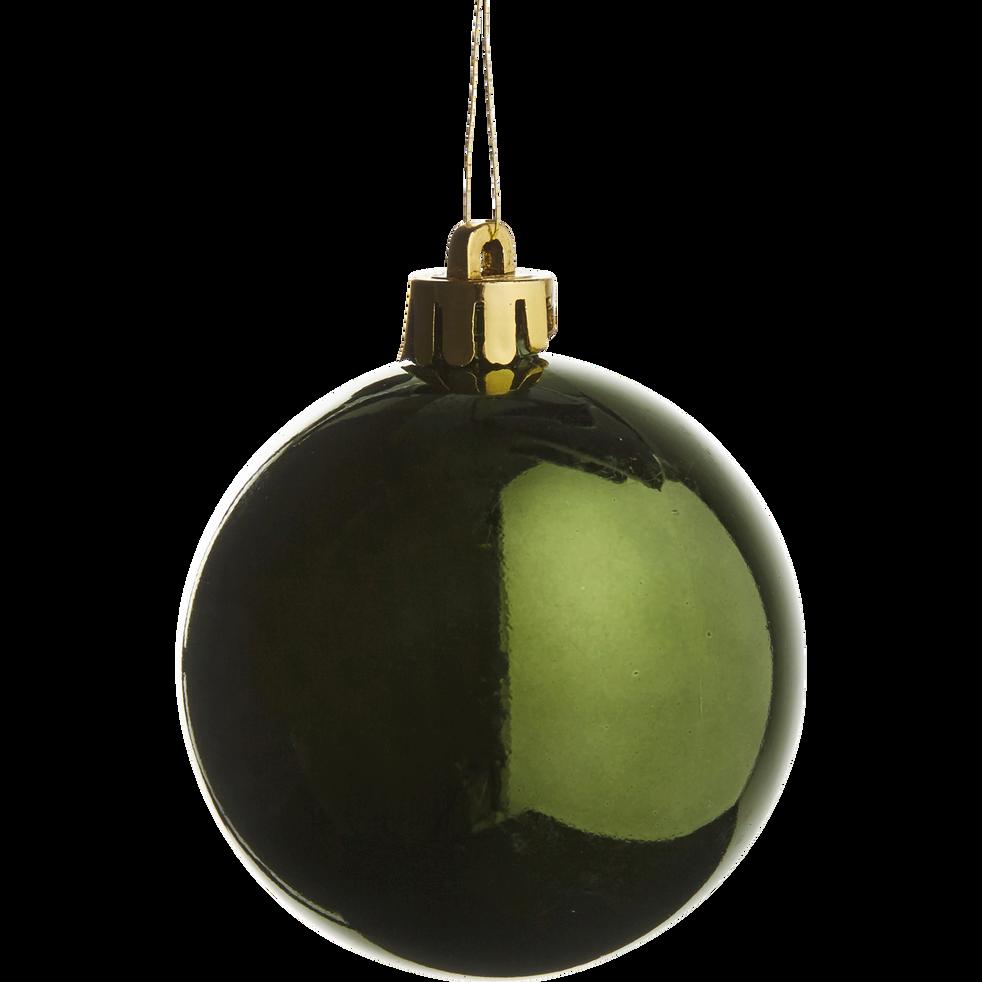 10 boules de Noël en plastique vert D6cm-BAUS