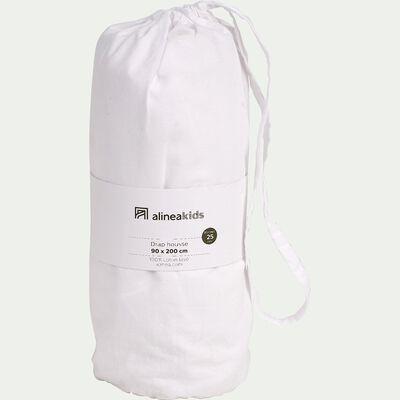 Drap housse en coton lavé - blanc 90x200cm- bonnet 25cm-CALANQUES