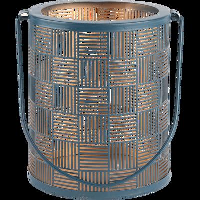 Lanterne en métal bleu H15cm-AUXANE