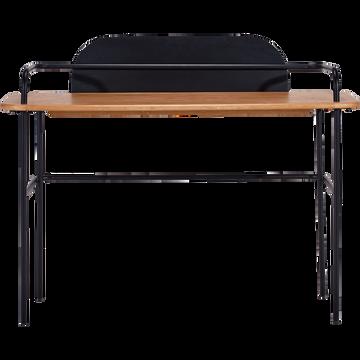 Bureau plaqué chêne et métal noir L126cm-SACHU