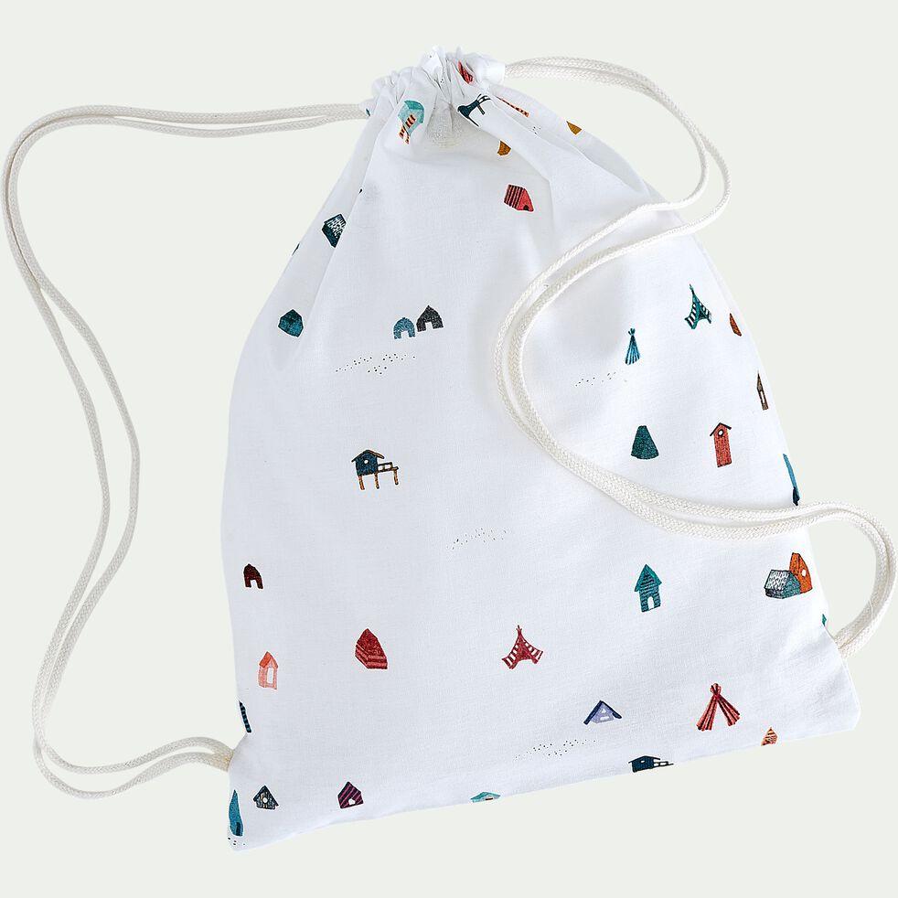 Housse de couette enfant motifs cabanes 140x200cm et 1 taie 63x63cm - blanc-Cabane