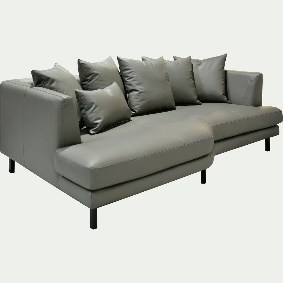 Canapé 3 places fixe gauche en cuir gris restanque-TESSOUN