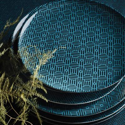 Assiette plate en faïence noire à motifs D27cm-MOZAIQUE