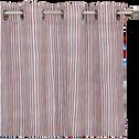 Rideau en coton imprimé blanc et rouge 135X250 cm-SIDI