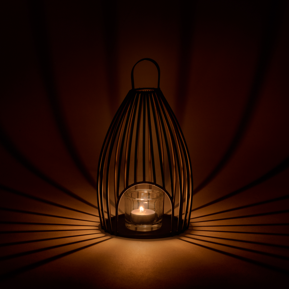Lanterne en métal gris anthracite H30xD15cm-Felip