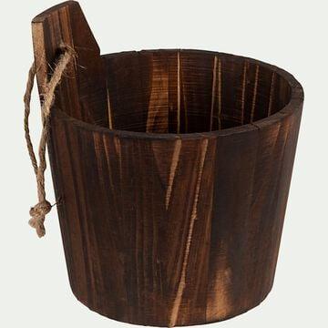 Panier de rangement wenge en bois - marron-OSLO