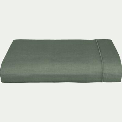 Drap plat en coton - vert cèdre 180x300cm-CALANQUES