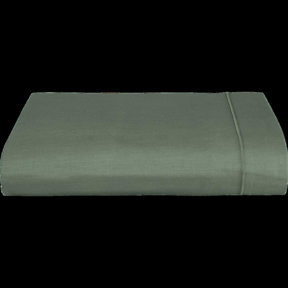 Drap plat en coton Vert cèdre 180x300cm-CALANQUES