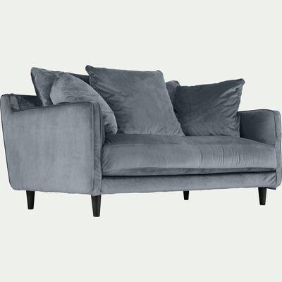 Canapé 2 places fixe en velours - gris restanque-LENITA