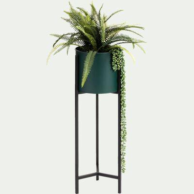 Cache pot sur pied - vert H66xD22cm-Colin