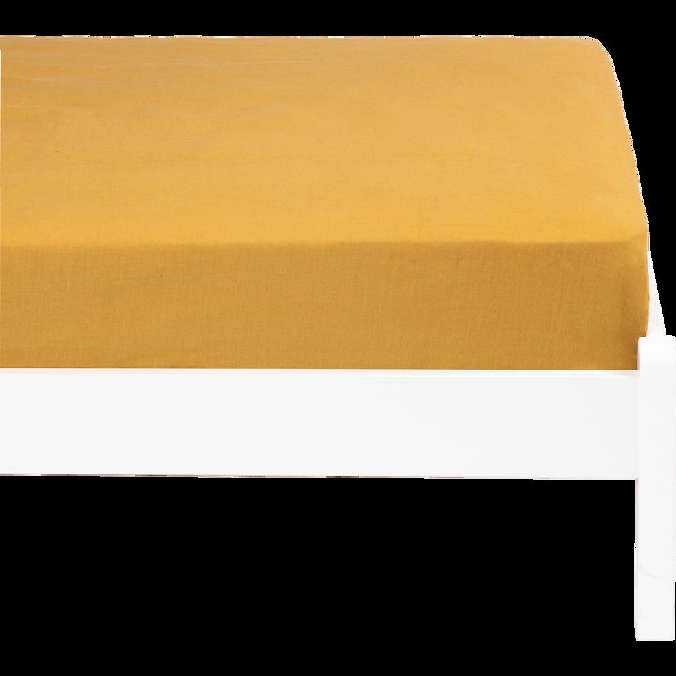 drap housse lin lavé 90x140 cm beige nefle-VENCE