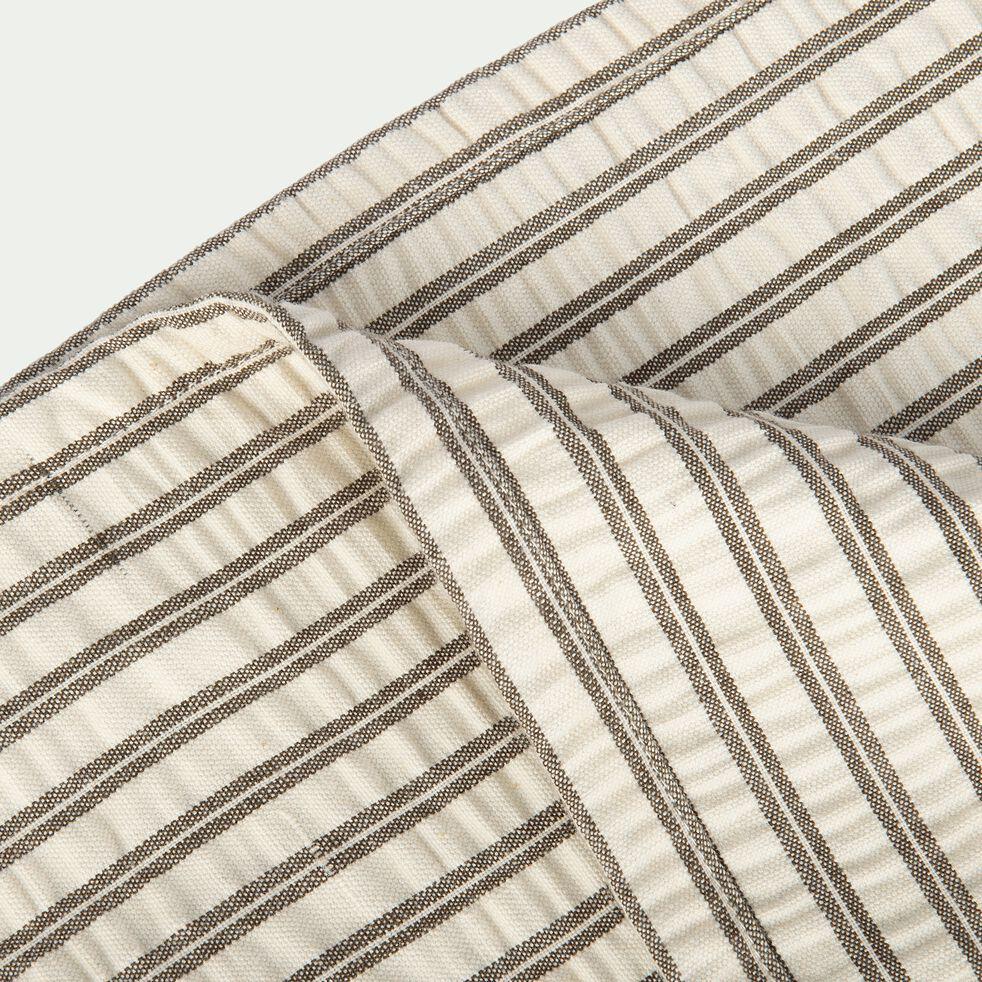 Couvre lit rayé en coton - gris 180x230cm-CHLOE