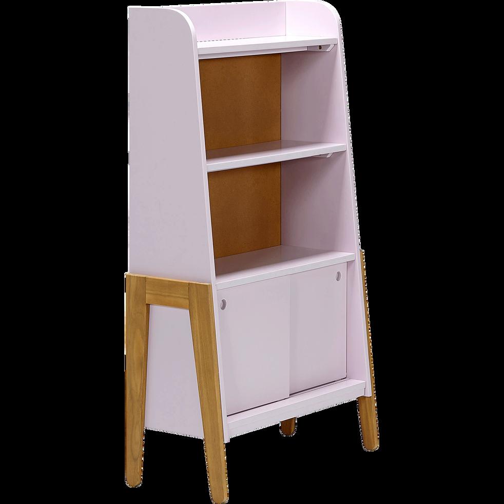Bibliothèque en acacia pour enfant rose-RAPHAEL