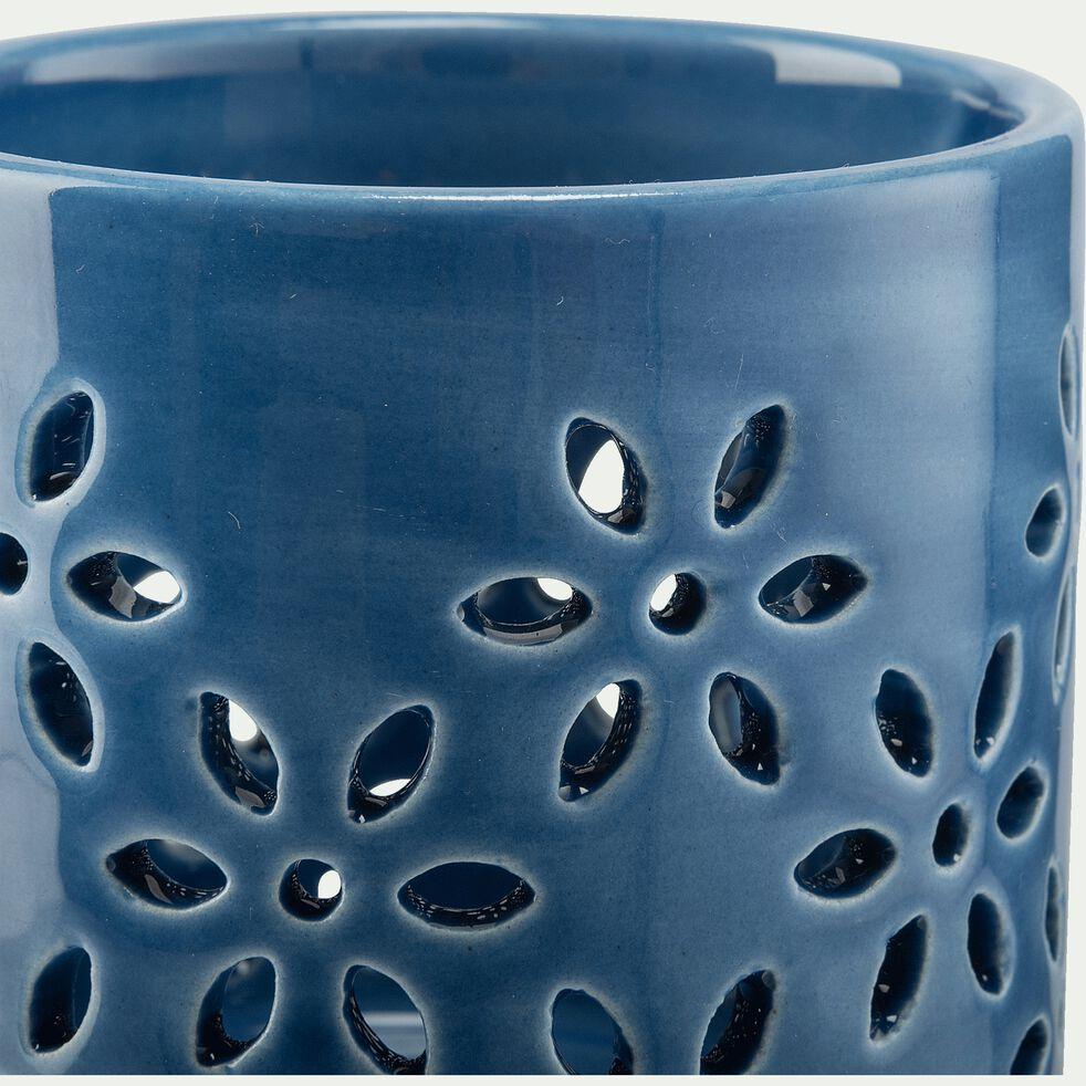 Photophore en céramique - bleu D8,5xH8,7cm-LIV